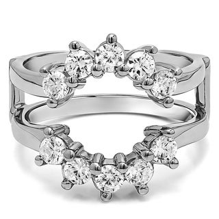 Platinum 1/2ct TDW Round Diamond Sunburst Style Ring Guard (G-H, SI2-I1)
