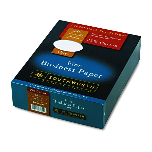 Southworth 25% Cotton White 24 lb. Business Paper (Box of 500 Sheets)
