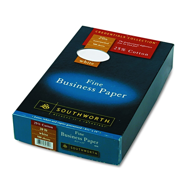 Southworth 25% Cotton White 20 lbs. Legal Business Paper (Box of 500 Sheets)