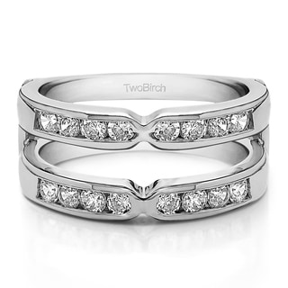 Platinum 1/2ct TDW Diamond Traditional Style X-design Jacket Ring (G-H, SI2-I1)