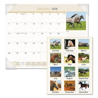 AT-A-GLANCE Recycled 2016 Horses Monthly Desk Pad