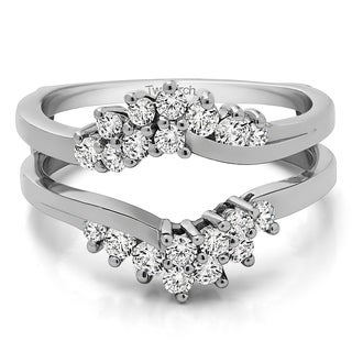 Sterling Silver 3/5ct TDW Diamond Fancy Bypass Chevron Style Ring Guard Enhancer (G-H, I2-I3)