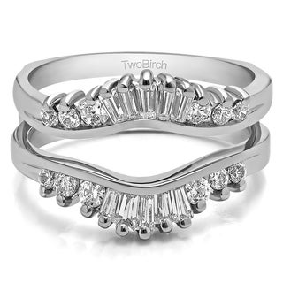 Platinum 1/6ct TDW Diamond Classic Contour Style Ring Jacket Enhancer (G-H, SI2-I1)