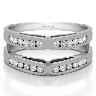 Platinum 3/8ct TDW Diamond Classic Style X-design Ring Guard (G-H, SI2-I1)