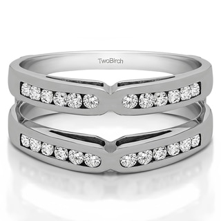 Sterling Silver 1/2ct TDW Diamond Classic Style X-design Ring Guard (G-H, I2-I3)