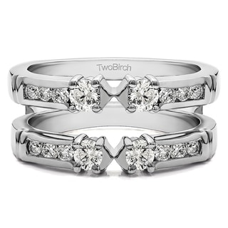 Platinum 1/4ct TDW Diamond Embellished 3-stone Ring Guard Enhancer (G-H, SI2-I1)