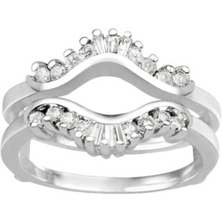 Platinum 1/2ct TDW Diamond Traditional Contour Style Jacket Ring Guard (G-H, SI2-I1)