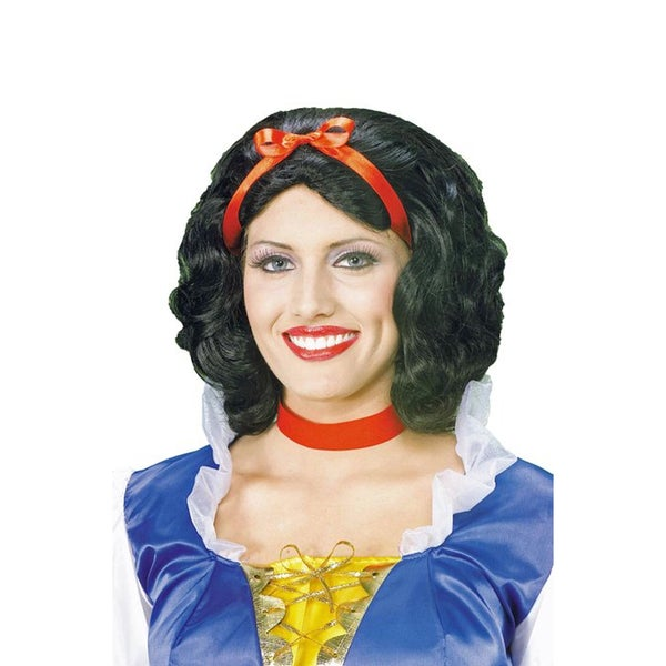 Story Book Princess Wig Snow White Seven Dwarfs Disney Red Bow Adult Womens