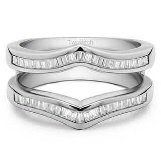 Platinum 3/8ct TDW Diamond Classic Contour Style Ring Guard Enhancer (G-H, SI2-I1)