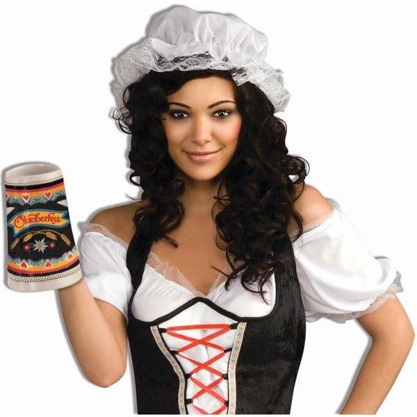 White Lace Bonnet Costume/Mop Cap/Colonial Mob Pioneer- Adult