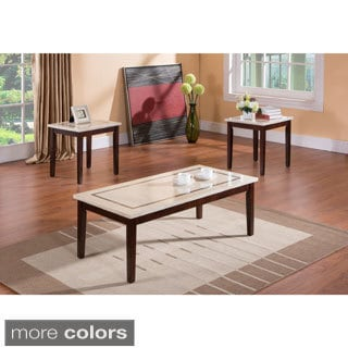 K & B T361 3-piece Tables (Cocktail & 2 End Tables) Walnut / Marble Finish