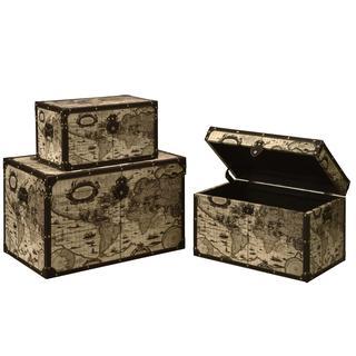 Brady Rustic Map Design Nesting Storage Trunk Set (Set of 3)