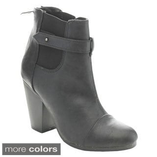 Breckelle's Gail-23 Women's Classical Chunky Stacked Heel Chelsea Ankle Booties