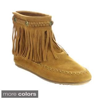 Refresh Jolin-01 Women's Fringe Moccasin Strappy Flat Heel Zipper Ankle Booties