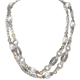 Avanti Palladium Silver 18k Yellow Gold Freshwater Pearl and White Sapphire Necklace (10-11mm)