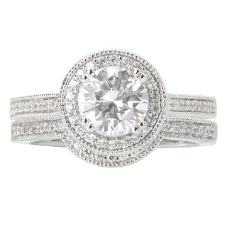 Avanti Rhodium-plated Sterling Silver 2 5/8ct Cubic Zirconia Round Halo Bridal Ring Set