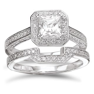 Avanti Rhodium-plated Sterling Silver 2 5/8ct Princess-cut Cubic Zirconia Halo Bridal Ring Set