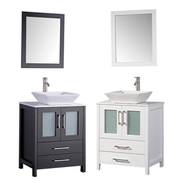 MTD Vanities Jordan 30 Inch Single Sink Bathroom Vanity Set With Mirror And F