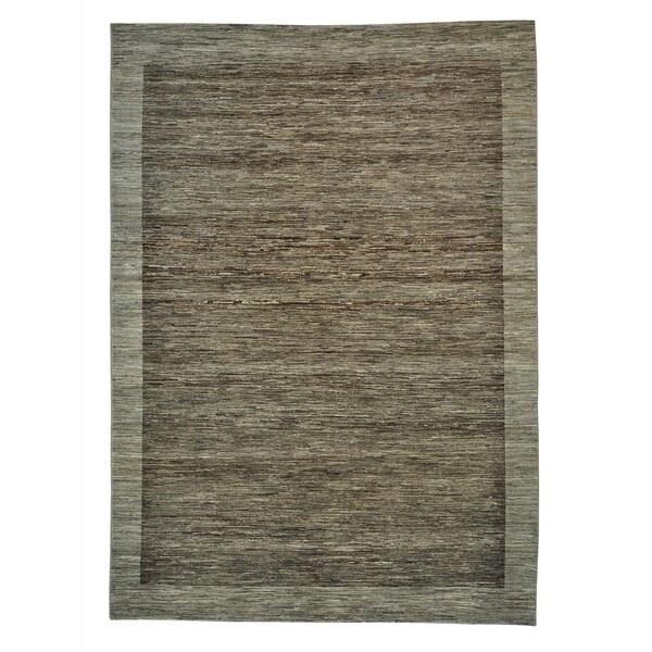 Handmade Oriental Wool Stripped Gabbeh Rug (8'1 x 11'4)
