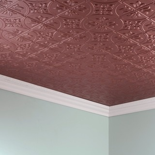 Fasade Traditional Style #2 Argent Copper 2 ft. x 4. ft Glue-up Ceiling Tile