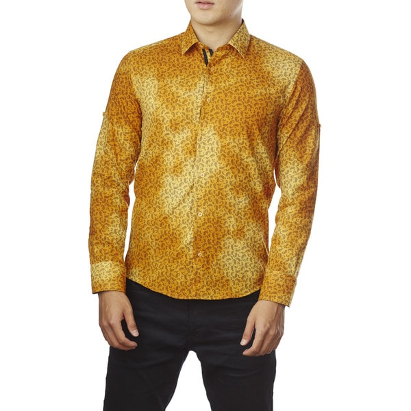 Decaprio Men's Long Sleeve Yellow Paisley Print Button-Down Shirt