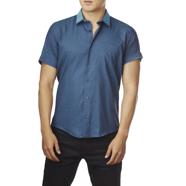 Decaprio Men's Short Sleeve Turquoise Dot Button-Down Shirt