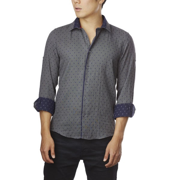 Decaprio Men's Long Sleeve Dark Grey Pattern Button-Down Shirt