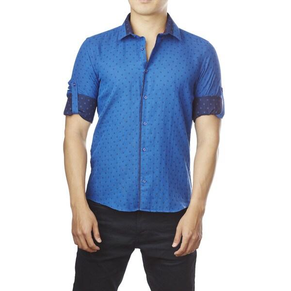 Decaprio Men's Long Sleeve Royal Pattern Button-Down Shirt