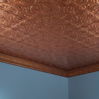 Fasade Traditional Style #2 Muted Gold 2 ft. x 4. ft Glue-up Ceiling Tile