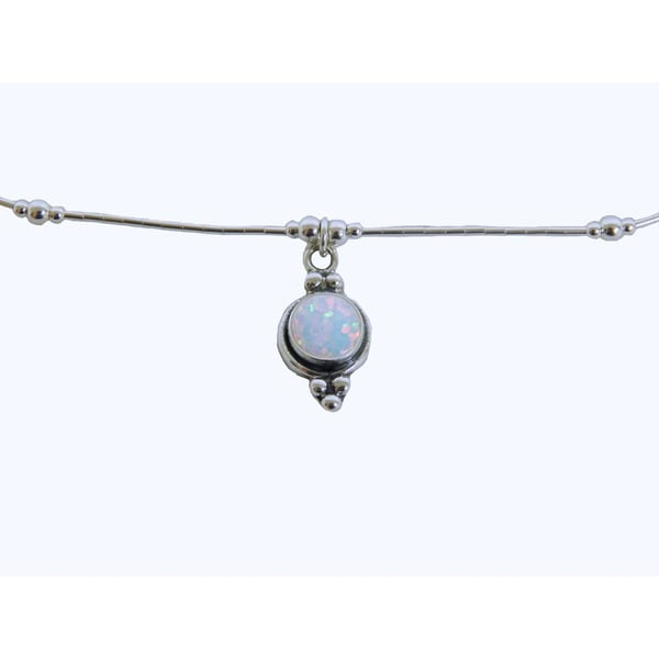 Sterling Silver White Opal Concho Round Pendant