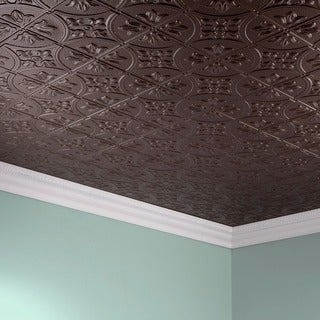 Fasade Traditional Style #2 Argent Bronze 2 ft. x 4. ft Glue-up Ceiling Tile