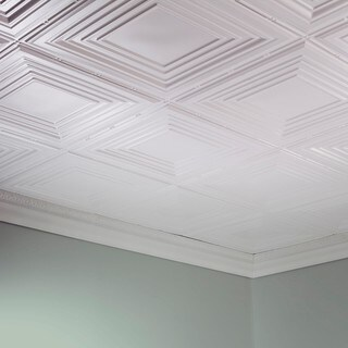 Fasade Traditional Style #3 Gloss White 2 ft. x 4 ft. Glue-up Ceiling Tile