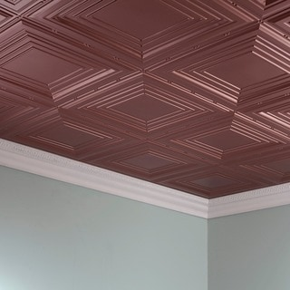 Fasade Traditional Style #3 Argent Copper 2 ft. x 4 ft. Glue-up Ceiling Tile