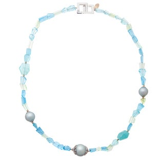 Rhodium over Silver Tahitian Pearl Aqua & Beryl 158ctw, Rhodium 925 Necklace (12-16mm)