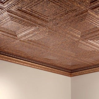 Fasade Traditional Style #3 Cracked Copper 2 ft. x 4 ft. Glue-up Ceiling Tile