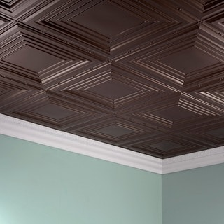 Fasade Traditional Style #3 Argent Bronze 2 ft. x 4 ft. Glue-up Ceiling Tile