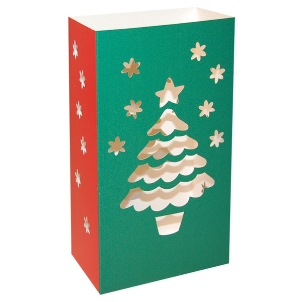 Christmas Tree Paperboard Lanterns (Pack of 12)