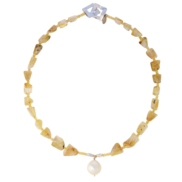 Champagne Golden South Sea Baroque Pearl Rutilated Quartz and Citrine Faceted Bead Necklace (15-16mm)