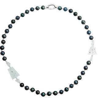 "Tahitian Cultured Pearl (10-11mm) & Aquamarine, 28.5"" Necklace"