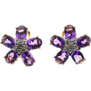Kabella 14k Yellow Gold Gemstone Diamond Accent Flower Earrings