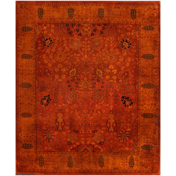 Hand-knotted Overdyed Rust Rug 12200 (8x10)