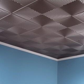 Fasade Echo Brushed Nickel 2 ft. x 2 ft. Glue-up Ceiling Tile