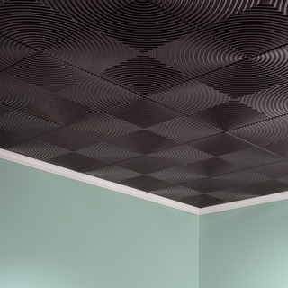 Fasade Echo Smoked Pewter 2 ft. x 2 ft. Glue-up Ceiling Tile
