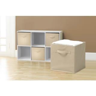 Foldable Storage Cube Basket Bin (6 Pack, Beige)
