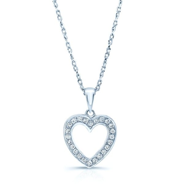 14k White Gold 1/8ct TDW Diamond Heart Twist Curb Chain Necklace (H-I, SI1-SI2)