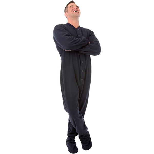 Blue fleece adult footed pajamas footie drop seat mens womens pjs soft