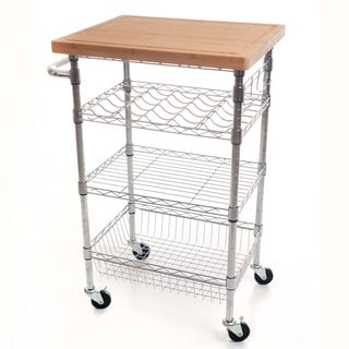 Lavish Home Chrome Wine Dining Cart with Butcher Block Bamboo Top