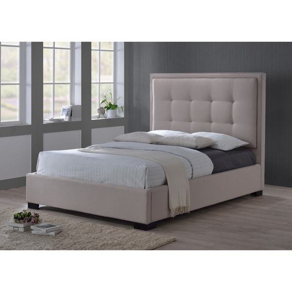 Montecito Palazzo Mist Khaki Fabric Upholstered King Size Bed