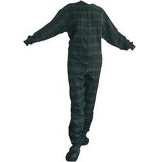 Navy and Green Flannel Adult Footed Pajamas Footie Drop Seat Mens/ Womens PJs