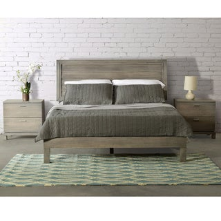 Rose Queen Size Louvered Panel Platform Bed - Solid Wood